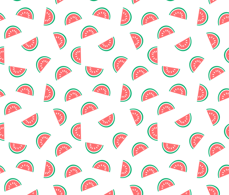 watermelon summer fruit design with white background fabric by charlottewinter on Spoonflower - custom fabric