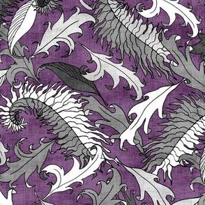 Silver Leaves on Purple