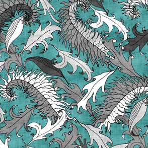 Silver Leaves on Teal