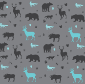 woodland animals in aqua and grey