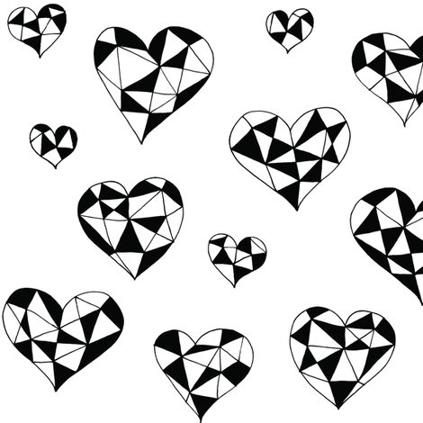 Geometric hearts white black fabric by pennyroyal on Spoonflower - custom fabric