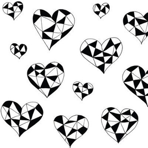 Geometric hearts white black