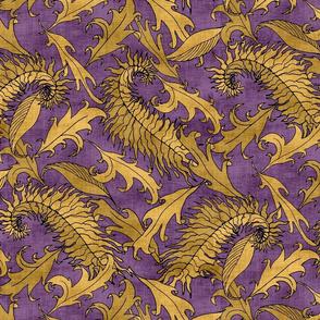 Golden Leaves on Purple