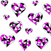 Geometric hearts dark pink