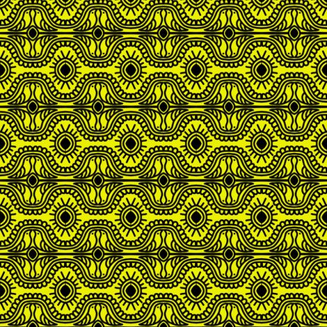 Southwest Doves Yellow Black fabric by eve_catt_art on Spoonflower - custom fabric
