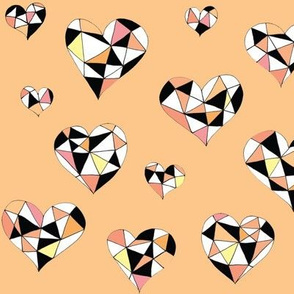 Geometric hearts peach hues