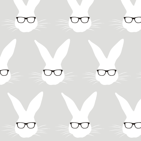 Geeky Bunny Med scale fabric by pennyroyal on Spoonflower - custom fabric