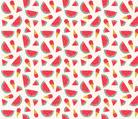Watermelon summer ice cream party fabric by heleen_vd_thillart on Spoonflower - custom fabric