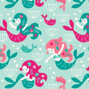 Mermaids in pink
