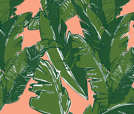 Leaves Bananique in Fresh Salmon fabric by elliottdesignfactory on Spoonflower - custom fabric