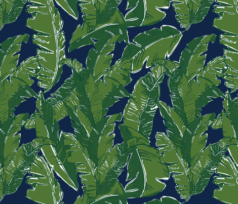 Leaves Bananique in Atlantic Navy fabric by elliottdesignfactory on Spoonflower - custom fabric