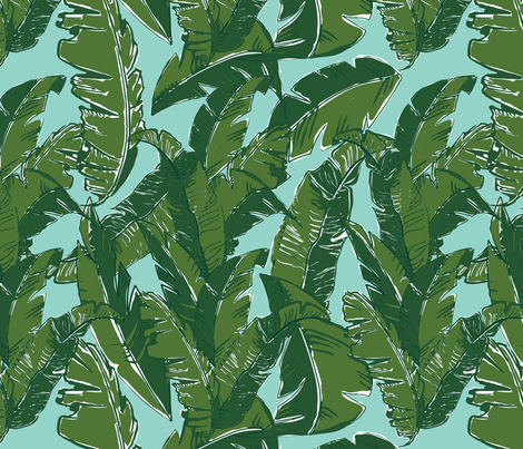 Leaves Bananique in Aqua Sea fabric by elliottdesignfactory on Spoonflower - custom fabric