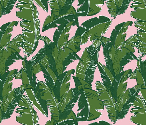 Leaves Baninque in Pink Conch fabric by elliottdesignfactory on Spoonflower - custom fabric