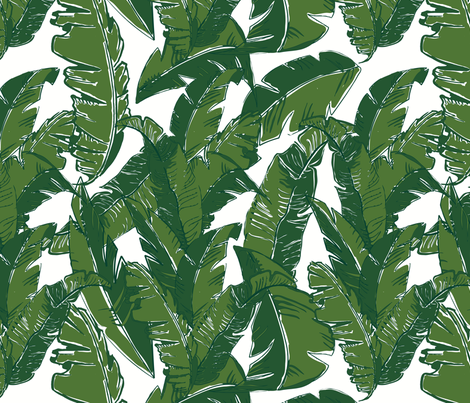 Leaves Bananique in White Shell fabric by elliottdesignfactory on Spoonflower - custom fabric