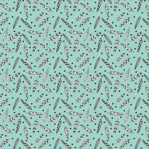 Inky Feathers fabric // - Pale Turquoise (Teeny Tiny) by Andrea Lauren