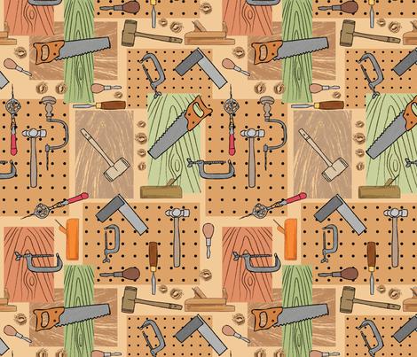 Vintage Woodshop 1 Big fabric by vinpauld on Spoonflower - custom fabric
