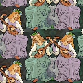 Lute players, mauve and teal