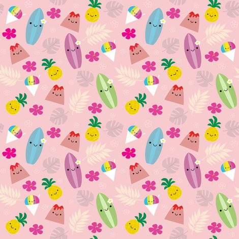 Happy Island Friends Pink fabric by clayvision on Spoonflower - custom fabric