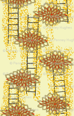 Lotus Ladders in Marigold, Charcoal and Red