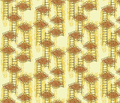 Lotus Ladders in Marigold, Charcoal and Red fabric by bloomingwyldeiris on Spoonflower - custom fabric