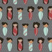 asian dolls gray background