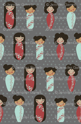 asian dolls gray background