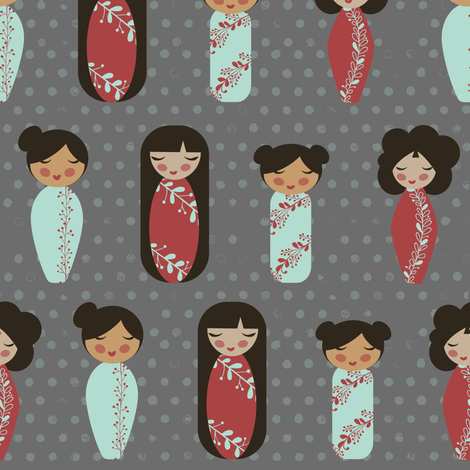 asian dolls gray background fabric by jennifer_todd on Spoonflower - custom fabric