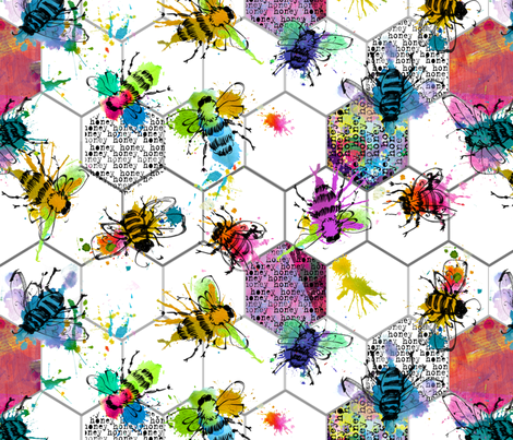 bee splat fabric by karismithdesigns on Spoonflower - custom fabric