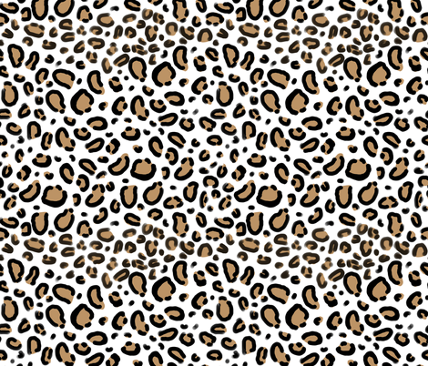 leopard - animal print with white background natural tan cheetah spots fabric by charlottewinter on Spoonflower - custom fabric