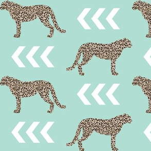 cheetah - animal print leopard with mint background