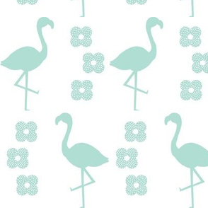 flamingo mint bird flower retro design