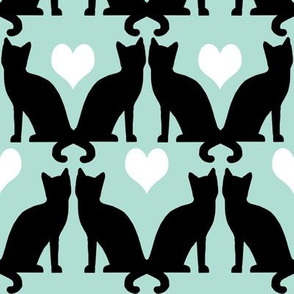 cats black and white on mint textile pastel design