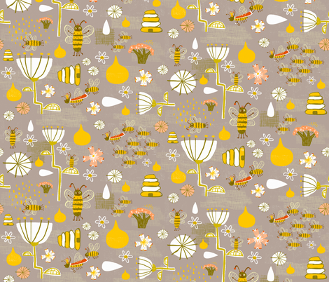 What's the buzz fabric by skbird on Spoonflower - custom fabric