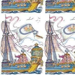 vintage retro ships nautical transportation sea ocean sailing boats waves clouds victorian birds mast baroque rococo Figurehead prows