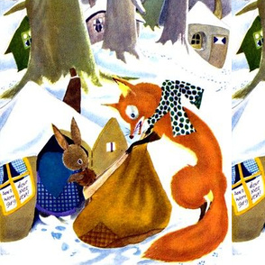 vintage retro kitsch winter snow rabbits foxes owls forests cottages trees hares bunny bunnies