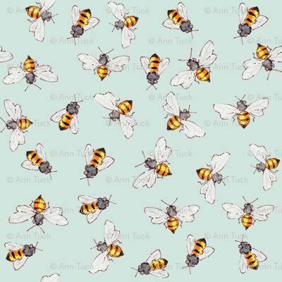 Bees Sky Blue--More Bigger Bees for Anna