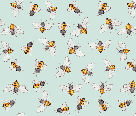 Bees Sky Blue--More Bigger Bees for Anna fabric by anntuck on Spoonflower - custom fabric