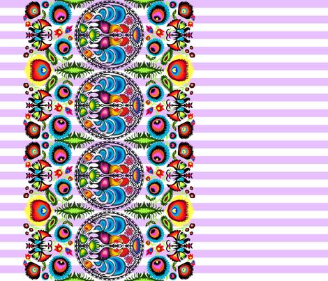 Wycinanka_003_Border_Print_Purple_Stripes fabric by stradling_designs on Spoonflower - custom fabric