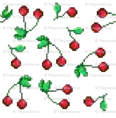 Pixel Cherry Print on White