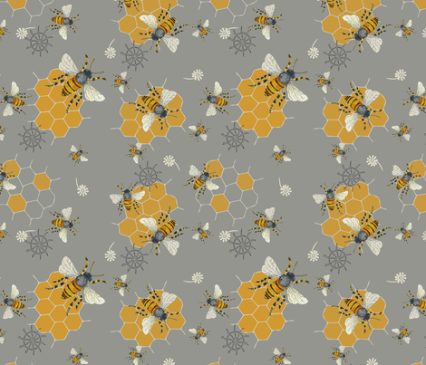 Worker Bees fabric by jennifergeldard on Spoonflower - custom fabric