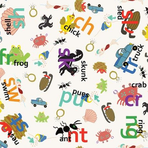 Alphabet consonant blends fabric