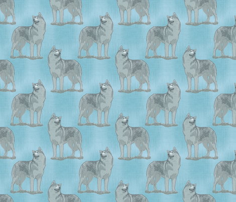 Posing Siberian Husky - blue fabric by rusticcorgi on Spoonflower - custom fabric