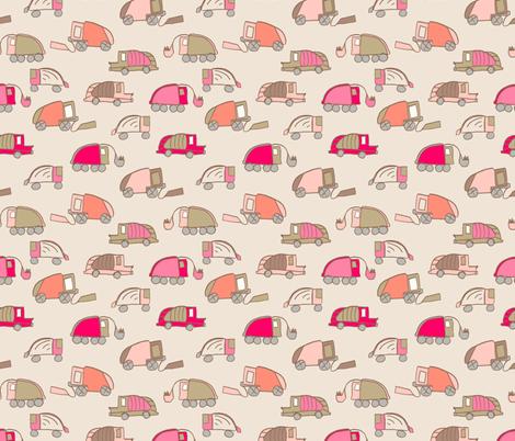 LaraGeorgine_Garbage_Trucks-Coral fabric by larageorgine on Spoonflower - custom fabric