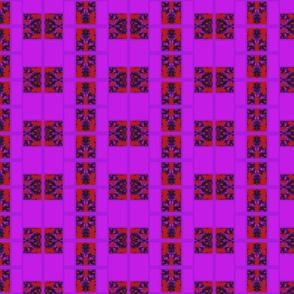 Suga Lane Floral Deviant Plaid #2 purple red