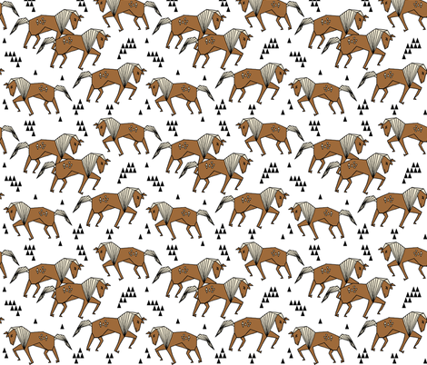 Painted horses geo horse triangles kids horse brown for Horse fabric for kids