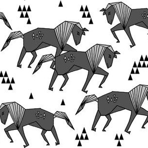 horse // geometric charcoal horses kids triangles geo animal