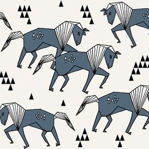 painted horses // blue geometric triangle triangles horses
