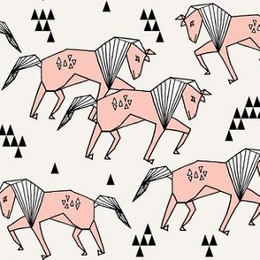 geo horse // horses painted horse triangles pink girls