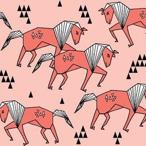 horses // horse geometric horse pink coral kids girls nursery