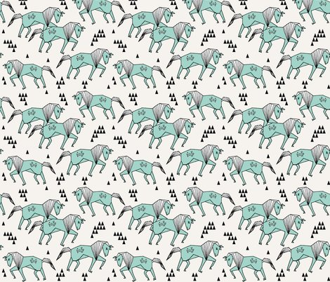 Geo horse mint and cream geometric horses kids for Horse fabric for kids
